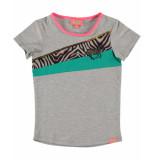 Funky XS T-shirt colour block grijs