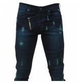 Bravo Jeans Heren jeans damaged look green raugh line slim fit stretch lengte 32 blauw