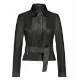 IBANA Leren jas met band zwart