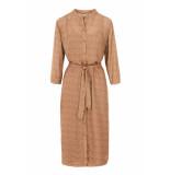 Zusss 0301-011-6506 leuke lange jurk met print honing bruin