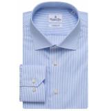 Emanuel Berg Heren overhemd poplin widespread hemels streep modern fit