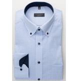 Eterna Heren overhemd licht ruit button-down poplin comfort fit blauw