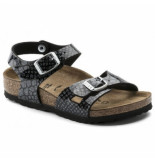 Birkenstock Sandaal kids rio bf magic snake black-silver narrow zwart