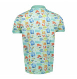 BoB Polo korte mouw slimfit print holiday best002-unica groen