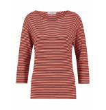 L.O.E.S. 20321 3469 loes milena stripe shirt coral/darkblue