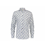 A Fish Named Fred 20.02.038 shirt parrot illustration white blue print - wit