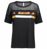 Summum 3s4378-30129 990 tee striped short slv cotton modal black zwart