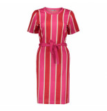 Geisha 07108-20 420 jurk striped s/s with strap pink/ red combi