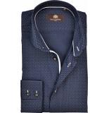 Circle of Gentlemen Overhemd brooklyn stippen poplin slim fit blauw