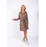 Colourful Rebel Denna Leopard Maxi Shirt Dress bruin