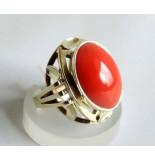 Casio Ocn ring met bloedkoraal