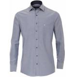 Casamoda Overhemd navy print details twill kent comfort fit grijs