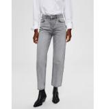 Selected Femme 16071957 slfkate hw straight jeans grijs