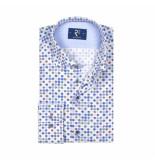 R2 Amsterdam Overhemd blauw stippen print
