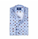 R2 Westbrook Overhemd lange mouw print blauw
