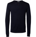 Selected Homme Tower heren trui blauw merino crew-neck