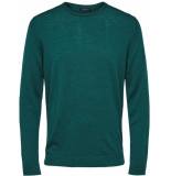 Selected Homme Tower heren trui melange merino crew-neck groen