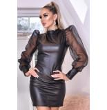 Catwalk Avery organza puffed sleeve leatherette dress