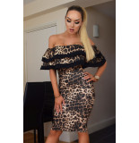 Catwalk Kaira bardot leopard dress
