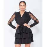 Parisian Polka dot mesh sleeve wrap tiered detail mini dress