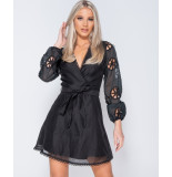 Parisian Broderie anglaise wrapover belted mini dress