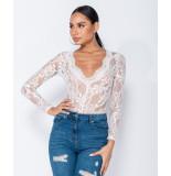 Parisian Lace scalloped edge sheer long sleeve bodysuit