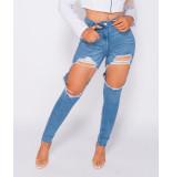 Parisian Extreme distressed high waist skinny jeans blauw