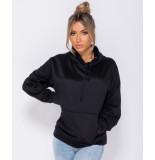 Parisian Oversized draw string hooded sweat-shirt zwart