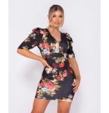 Parisian Floral print puffed bodycon mini dress