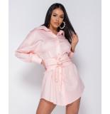 Parisian Long sleeve shirt dress h belt roze