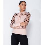 Parisian Polka dot organza sleeve tie neck pink