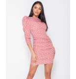 Parisian Polka dot puff sleeve ruching detail bodycon dress roze