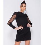 Parisian Polka dot sheer puffed sleeve bodycon mini dress zwart