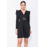 Parisian Puffed sleeve wrap front mini dress zwart