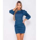 Parisian Puffed sleeve denim bodycon dress blauw