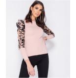 Parisian Sheer flock print organza sleeve high neck top roze