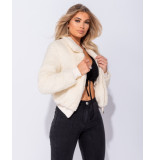 Parisian Borg fur zip front bomber jacket beige