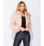 Parisian Borg fur zip front bomber jacket roze