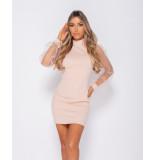 Parisian Organza sheer puff long sleeve bodycon mini dress roze