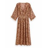 Scotch & Soda 155982 0590 midi length v-neck dress/jurk with ruffles combo k