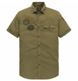 PME Legend Psis202263 6408 short sleeve shirt cotton slub fabric with badges nutria