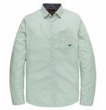 PME Legend Psi202201 6253 long sleeve shirt poplin with all-over print bosphorus groen