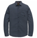 PME Legend Psi202201 5287 long sleeve shirt poplin with all-over print dark sapphire blauw