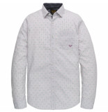 PME Legend Psi202201 4132 long sleeve shirt poplin with all-over print valerian rood