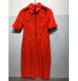 Zip73 909-11-06 jurk omslag mouw orange rood