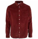 Kronstadt Heren overhemd baksteen corduroy regular fit rood