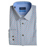 Bos Bright Blue Blue willem shirt casual hbd 20107wi07bo/240 blue blauw