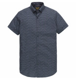 PME Legend Psis202249 5287 short sleeve shirt poplin all-over print dark sapphire blauw