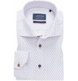 Ledûb Ledûb heren overhemd ml7 midden print twill widespread tailored fit blauw