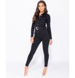 Parisian Western belt detail long sleeve denim jumpsuit zwart